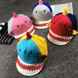 Gifts For Infant Girls Australia - Kids Shark Shaped Baseball Cap Infant Toddler Cartoon Hat Boy Girl Cotton Peaked Caps For 12-36 Months Baby Brithday Gift