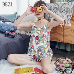White Shorts Australia - BZEL New White Cotton Pajamas Set Elastic Waist Shorts Women Two Piece Sets Flora Fruit Pattern V-neck Summer Kawaii Pyjama Suit