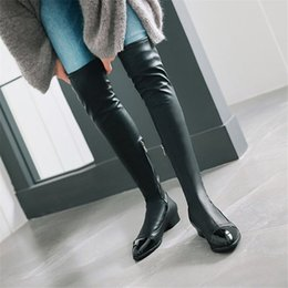 $enCountryForm.capitalKeyWord Australia - Thigh High Boots Women Over The Knee Booties Low Heel Winter Tall Shaft Riding Party Pumps Winter Shoes