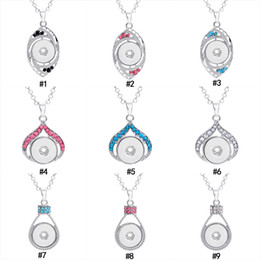 China 45 colors Noosa 18MM Chunks Snap Button Pendant Crystal rhinestone Love Heart Eye swan Hand charm Fit Ginger Snap Necklace Jewelry in bulk cheap bulk eyes suppliers