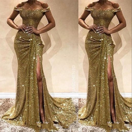 gold sequined mermaid Australia - Arabic New Sexy Gold Sequins Lace Prom Dresses Off Shoulder Side Split Mermaid Long Party Sequined Floor Length Plus Size Evening Gowns Wear