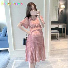 Clothes Pink Pregnant Australia - Summer Pregnancy Dress Fashion Women's Clothing Maternity Wear Dresses Chiffon Plus Size Pregnant Clothes Bc1460 Q190521