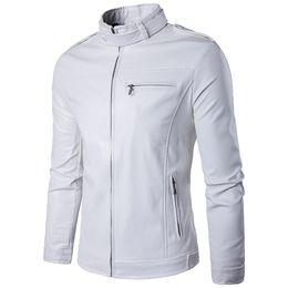 Mens fitted leather jackets online shopping - Brand White Pu Leather Jacket Men Winter Motorcycle Jacket Design Mens Slim Fit Biker Jacket Stylish Veste Cuir Homme