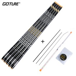 rig floats Canada - Goture GOLDLITE Fishing Rod Carbon Fiber 2 8 Power 3.6M-7.2M Telescopic Stream Rod with Float+ Rig for Cap Fishing Hand Pole