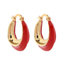 $enCountryForm.capitalKeyWord UK - New arrival women's hoop earrings red blue green gold color enamel glaze elegant fashion party holiday hoop earrings for women