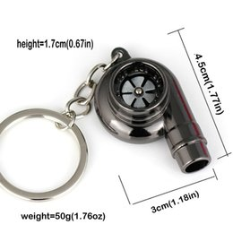 Spinning turbocharger online shopping - 2019 Real Whistle Sound Turbo Keychain Sleeve Bearing Spinning Auto Part Model Turbine Turbocharger Key Chain Ring