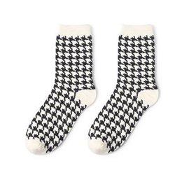 Wholesale japanese socks resale online - 1 Pair Japanese Lattice Vertical Stripes Harajuku Women Men Fashion Causal Socks Autumn Winter Classic Black White Socks