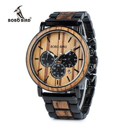 $enCountryForm.capitalKeyWord Australia - Bobo Bird Wooden Watch Men Erkek Kol Saati Luxury Stylish Wood Timepieces Chronograph Military Quartz Watches In Wood Gift Box Y19061905
