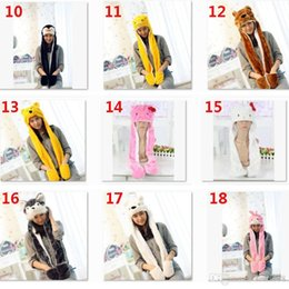 Pikachu Woman Costume Australia - New Cartoon Animal Plush Scarves Hats Pikachu Winter Women Children Costume Hats Cap With Long Scarf Gloves Earmuffs Christmas Hat JHH7-1926