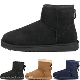 Discount tall leather boots men - Mens Designer Winter Snow Boots Australia Fashion Wgg Tall Boots U G Leather Bailey Bowknot Women S Bailey Short Bow Kne