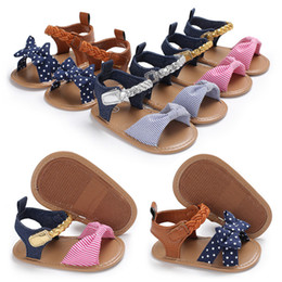 $enCountryForm.capitalKeyWord Australia - Baby Shoes Summer Cotton Canvas Dotted Bow Baby Girl Sandals Newborn Baby Shoes Playtoday Beach