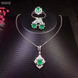 Discount natural emerald pendants - Natural and Real Emerald jewelry set Natural Real Emerald 925 sterling silver 1pc pendant,1pc ring ,2pcs Earring