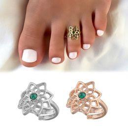 $enCountryForm.capitalKeyWord Australia - Green Gemstone Flower Adjustable Toe Ring Open Foot Finger Ring Jewelry Accessories Gift