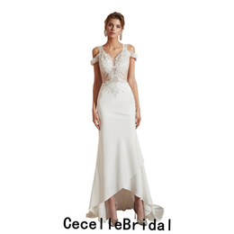 $enCountryForm.capitalKeyWord UK - 2019 New Mermaid Off the Shoulder High Low Wedding Dress Beaded Lace Short Front Long Back Informal Bridal Gowns Simple Reception Gown