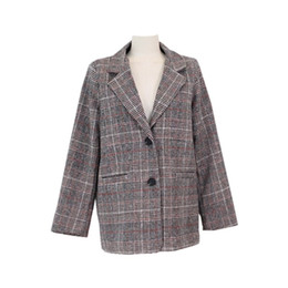 $enCountryForm.capitalKeyWord UK - Spring and Autumn Winter Korean version of the new college wind retro plaid long-sleeved suit long woolen jacket #408703