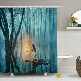 $enCountryForm.capitalKeyWord Australia - Gothic Decor Collection, Fairy Tale Woman with Lantern Floating on Lake Rustic Dress in Misty Forest Picture, Polyester Fabric Bathroom