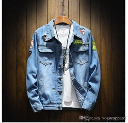 $enCountryForm.capitalKeyWord Australia - Mens Clothing Vintage Denim Jacket Blue Holes Badges Patch Jeans Plus Size 4XL 5XL Jacket Cheap Online