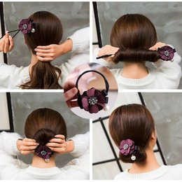 ponytail tools NZ - NEW Arrival Women Hair Accessories Elegant Rhinestone Flower Pearls Hair Curls Bun Maker Floral Headband Ribbon Hair Making Tool