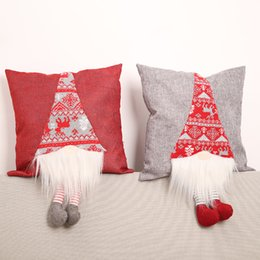 $enCountryForm.capitalKeyWord Australia - 2Pcs Set Creative Christmas Pillowcase No Face Doll with Leg Chair Cushion Cover Without Core Christmas New Year Decoration