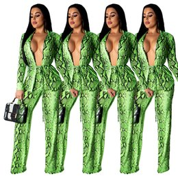 0e8a81d1932 Fashion snakeskin print bodysuit women ladies summer spring two pieces  overalls sexy office lady jumpsuits and romper