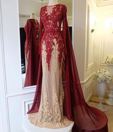 evening gowns lace shawls NZ - 2049 Sexy Elegant Mermaid Lace Appliques Zipper Prom Dresses Beading Long Sleeve Shawl Lace Evening Party Gowns new