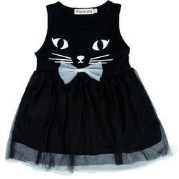 2fc1410006 Vestidos para niñas Niñas Sin mangas Cuello redondo Encaje Vestido negro  Vestido estampado de gato Puff Vestido de niña 45