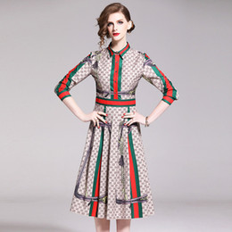Wholesale skirts midi for sale - Group buy 2019 Fashion elegant dresses of Women Beauty Printing Midi Skirts Long Sleeve Polo Neck Lady s Dress Four Colours Choose Casual Wear