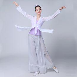 Women Costume Hanfu Australia - Chinese style Hanfu classical dance practice clothes female dance gauze elegant chinese folk costume for woman