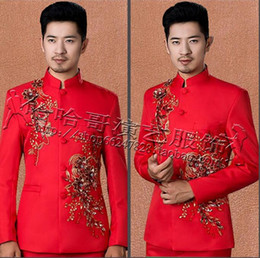 wedding dresses for dancing NZ - Singer Star Style Dance Stage Clothing For Men Chinese Tunic Suits Stand Collar Mens Wedding Suits Costume Men Formal Dress