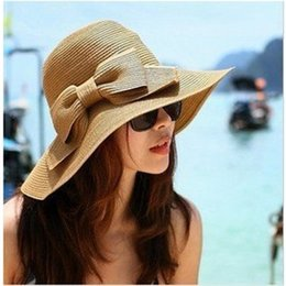 Hat Sunscreen Australia - Spring and summer Korean version of bowed straw hat women foldable Beach Hat sunshade cap brim sunscreen travel cap T3H5003