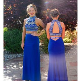 $enCountryForm.capitalKeyWord Australia - 2019 Royal Blue Two Pieces High Neck Prom Gown Colored Beads Backless Vestido Evening Gowns Robe de soirée Party Gowns