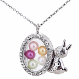 $enCountryForm.capitalKeyWord Australia - K1550 Silver color rabbit Floating Locket Pendant Necklace women Magnetic Living Memory Glass Floating Charm Locket With bead Chains DIY