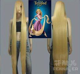 Long Hair Oblique Bangs Australia - Cosplay fake hair golden yellow straight hair 150cm long hair princess oblique bangs one meter five wig