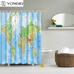 hang curtain wall 2019 - Different Pattern Shower Curtains Printed Bathroom Curtains Shower Wall Hanging Map Curtain cheap hang curtain wall