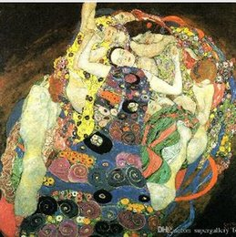 $enCountryForm.capitalKeyWord Australia - Ax1 Gustav Klimt - Maiden Young girls High Quality Hand Painted & HD Print Famous Abstract Art Oil Painting Wall Art Home Deco On Canvas