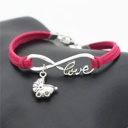 wholesale baby bangles Australia - New Infinity Love Baby Carriage Pendant diy Bracelets & Bangles Red Leather Suede Rope Adjustable Mujer Charm Bracelet For Women Men Jewelry
