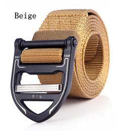 Active Alloys Australia - 125cm Beige Khaki Color Men Belt Mens Designer nylon Belts Ceinture Tactical Cobra Style Buckle Zinc Alloy Outdoor Sports Active Waist Strap