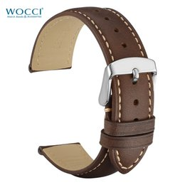 Horse tags online shopping - WOCCI Crazy Horse Leather Watch Bands Dark Brown Black Tan With Stainless Needle Buckle Lugs Retro Watchbands mm mm mm mm mm