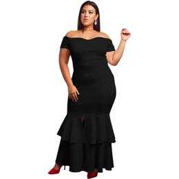 0bc6c6ee14593 Plus Size 5XL Ruffle Mermaid Dress 2019 Women Fashion Sexy Red Slash Neck Party  Club Slim Black White Blue Bodycon Dress