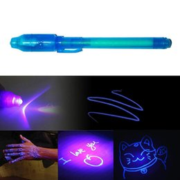 uv pen invisible ink UK - 2 in 1 Luminous Light Invisible Ink Pen UV Check Money Light Toy Kids Drawing Secret Magic Pens Children Glow in the Dark Toys