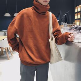 Crochet Sweater Xl Australia - Men Turtleneck 2018 Winter New Pattern Solid Color Oversized Sweater Loose Style Men's Sweater Black Brown T190618