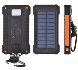 Solar panel charging phone online shopping - 20000mah solar power bank Charger with LED flashlight Compass Camping lamp Double head Battery panel waterproof outdoor charging dropping