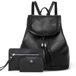 Styles Backpacks Australia - Polyester Hangbag Waterproof Shoulder Bag PU Fabala Shopping Women Backpack Travel Large Capacity School Style Casual 3-piece