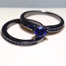 Bride Blue Jewelry Sets Australia - 2019 Women Fashion Handmade Black Gold Filled Jewelry 1ct Blue Sapphire Prong Setting Wedding Finger Ring Set For Bride Size 5-10