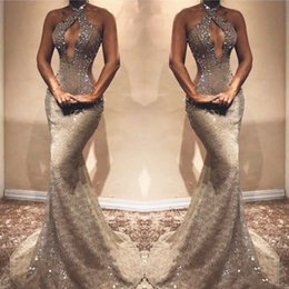 Black Evening Dresses For Ladies Australia - Gray Beaded Lace Mermaid Prom Dress Bust Hollow Backless Sleeveless Prom Evening Party Wear for Sexy Lady Graduation Dress 2019