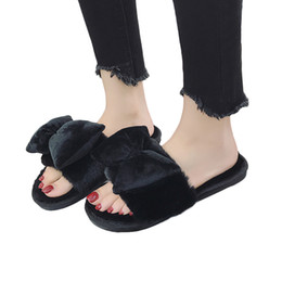China YOUYEDIAN Winter Women Open Toe Slippers Bow Comfortable Warm Flat Home ladies summer Slippers for beach #w40 supplier flat slippers for ladies suppliers