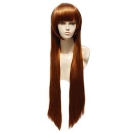 Hair Brown UK - Synthetic Cosplay Wig Fashion Long Straight Brown Full Hair Wigs Heat Resistant