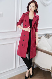 Wholesale long thin trench coat for sale - Group buy hot classic Spring women fashion England X Long style trench coat high quality brand name thin casual long trench jacket B8684F310 colors