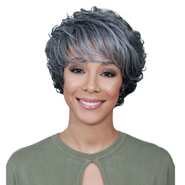 Chinese  Factory price 1pc Women Fashion Lady Gray 32cm Sexy Full Bangs Wig Short Curly Styling Cool Wigs Stand Cosplay Jan10 manufacturers
