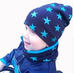 Crochet Baby Star NZ - Autumn Winter Crochet Baby Hat Girl Boy Cap Kids Beanie Stars Infant Hat Cotton New Children Collar Scarf Baby Cap Child Cap